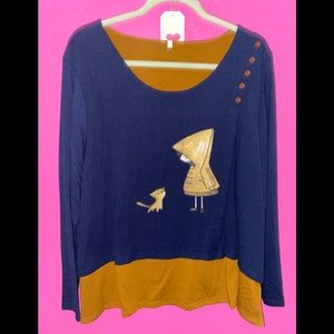 NEW LONG SLEEVE TOP IN SIZE XL ADORABLE GRAPHIC